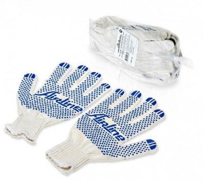 Перчатки ХБ с ПВХ покрытием AIRLINE, белые, (5 пар), 150Т/7,5 класс
